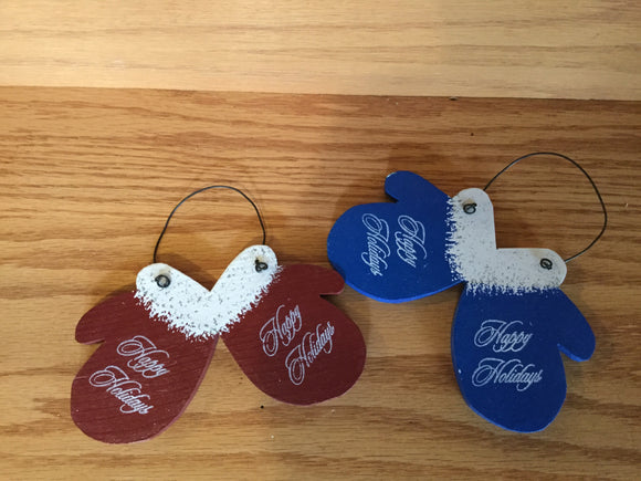 "Christmas Ornament - Mitten Pair ""Happy Holidays"""