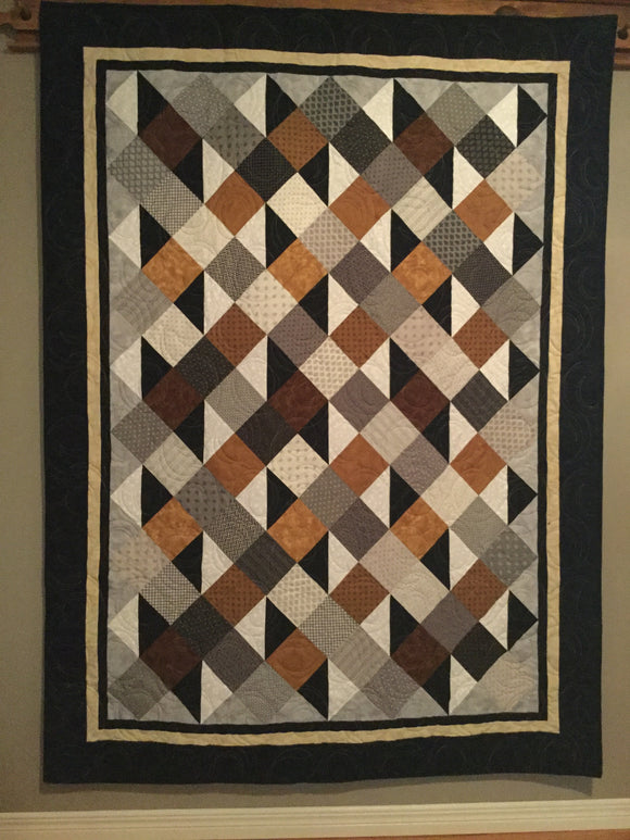 "Quilt - ""Simply Serene"" - Gold & Brown"