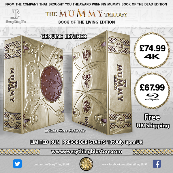 EverythingBlu BPS 004: The Mummy Trilogy BLU-RAY SteelBook  'Book Of The Living' Collectors Edition
