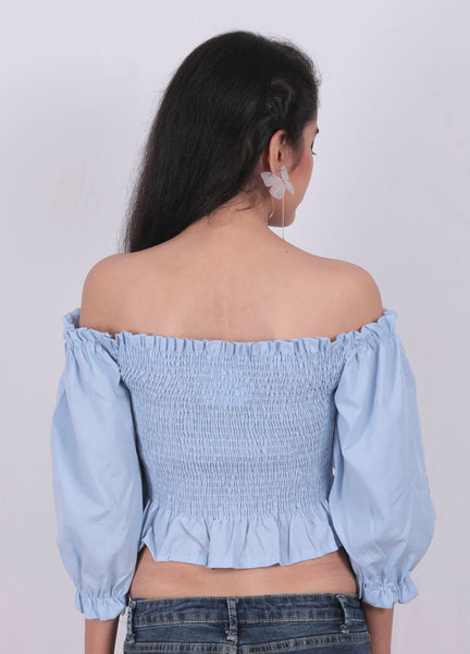 Blue Daisy Embroidery Crop Top - Brinda's Store