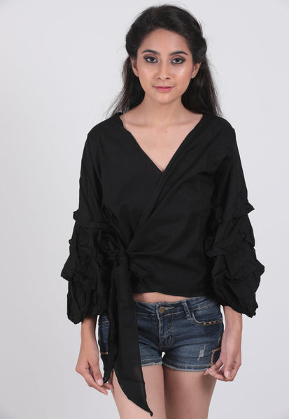Black Volume Sleeve Overlapping Top - Brinda's Store