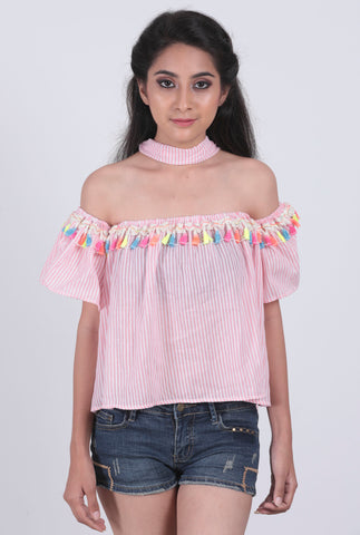 Pink Striped Multi Tassel Off-Shoulder Top