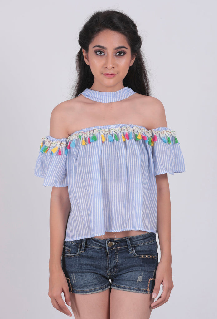 Light Blue Striped Multi Tassel Off-Shoulder Top