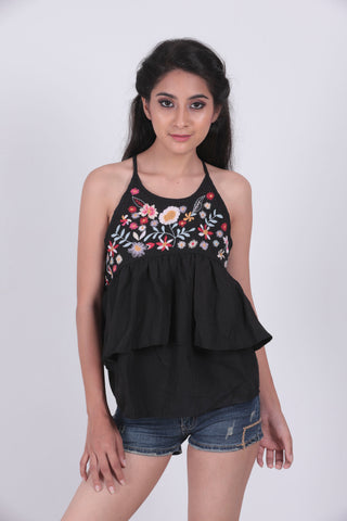 Black Embroidered Peplum Cami Top - Brinda's Store