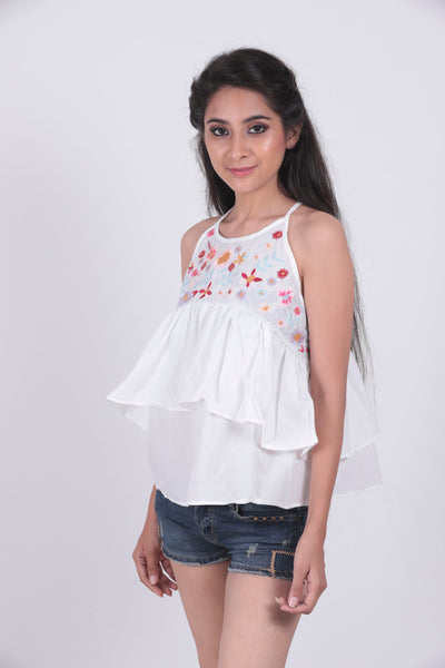 White Embroidered Peplum Cami Top