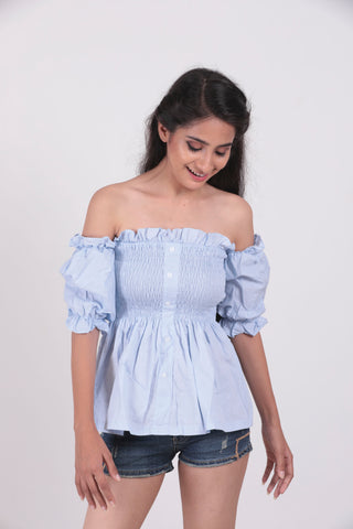 Blue Lettuce Edge Frill Off Shoulder Top - Brinda's Store