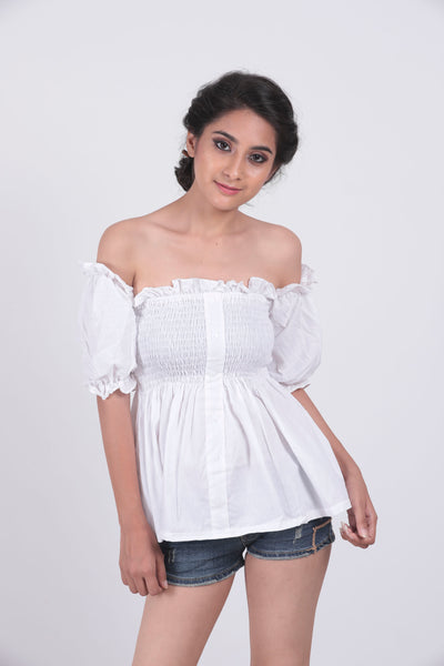 White Lettuce Edge Frill Off Shoulder Top