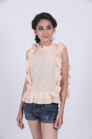 Cream Self Design Ruffled Top - Brinda's Store
