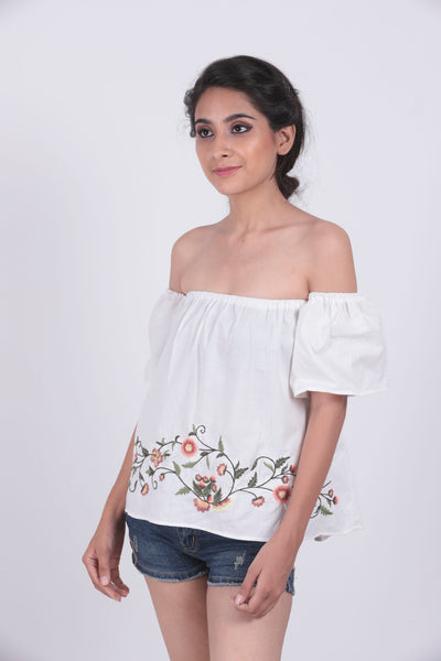 e7e7329ec879ec White Embroidery Lettuce Edge Bardot Top – TRUNK BOX