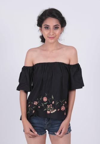 Black Embroidery Woven Bardot Top - Brinda's Store