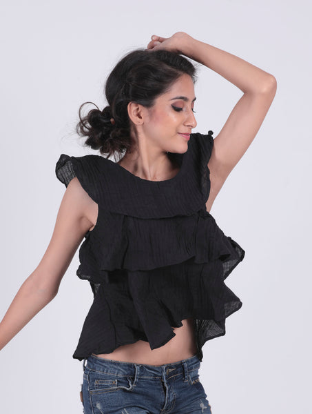 Black Self Design Layered Sleeveless Top - Brinda's Store
