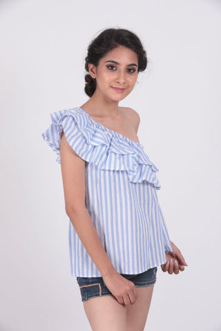 Blue Striped One Shoulder Top - Brinda's Store