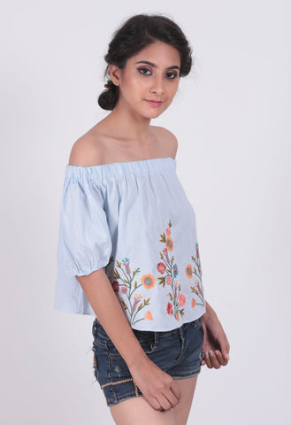 Blue Flower Embroidered Off Shoulder Top - Brinda's Store