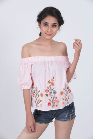 Pink Flower Embroidered Off Shoulder Top
