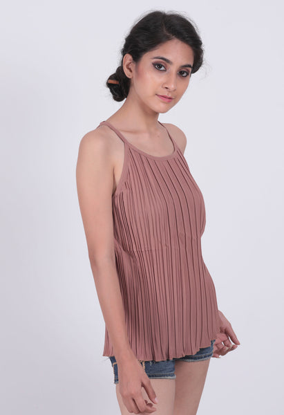 Brown Pleated Cami Top - Brinda's Store