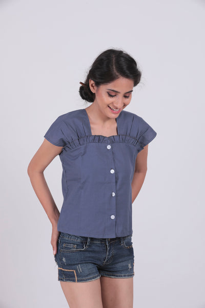Blue Solid Ruffled Neck Top - Brinda's Store