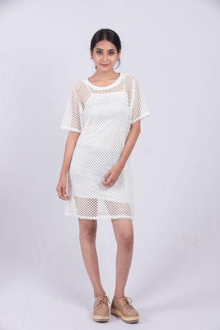 White Crochet T-shirt Dress