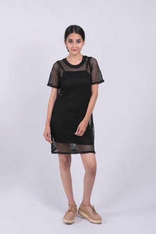 Black Crochet T-shirt Dress - Brinda's Store