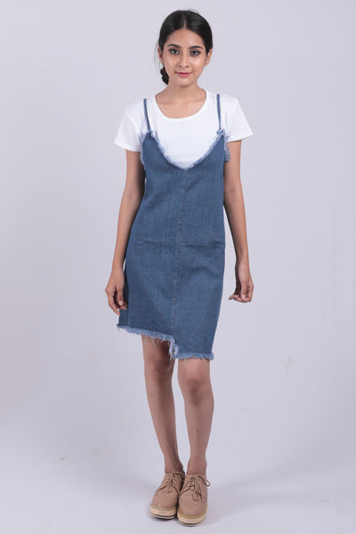 Blue Denim Dungree Dress - Brinda's Store