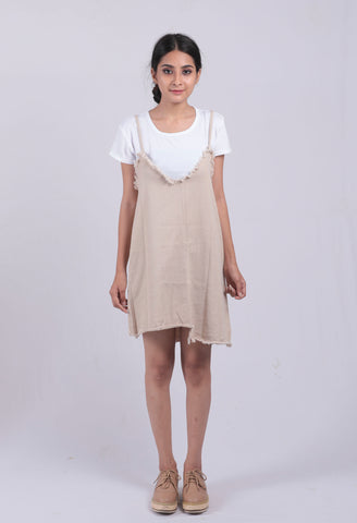 Cream Denim Dungree Dress - Brinda's Store