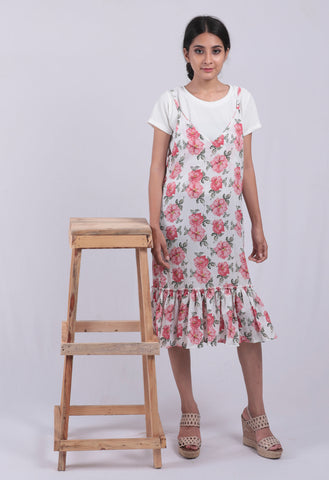 White Floral Printed A-line Dungaree Dress