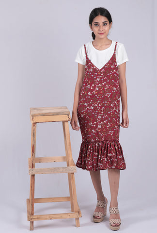 Maroon Floral Printed A-line Dungaree Dress