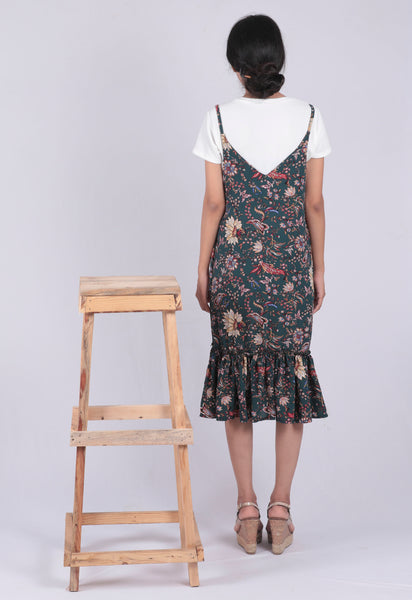 Green Floral Printed A-line Dungaree Dress - Brinda's Store