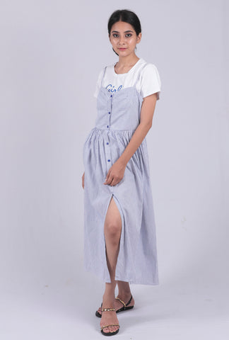 Blue Striped A-line Dungaree Dress - Brinda's Store