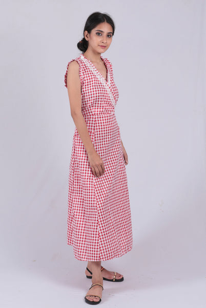 Red Checked Overlapping Dress