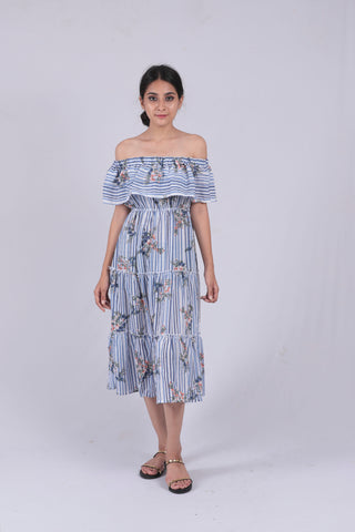 Blue Floral Striped Flounce Bardot Dress - Brinda's Store