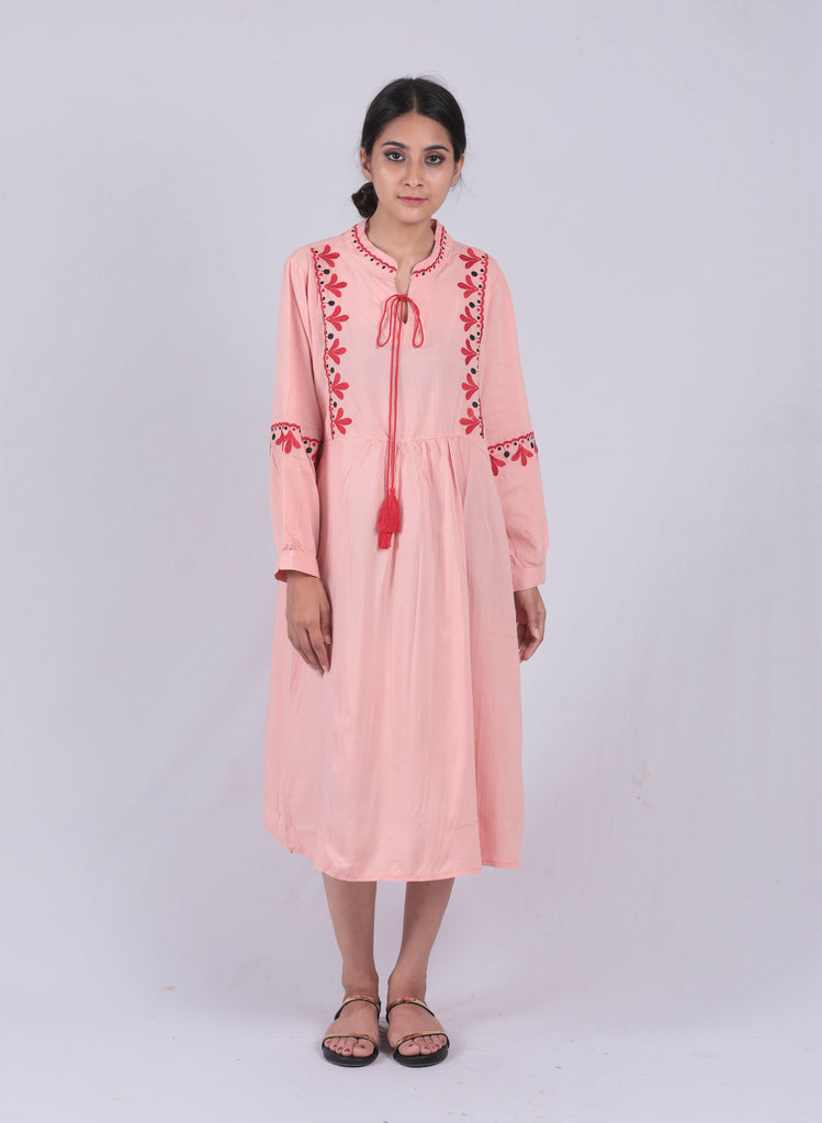 Peach Embroidered Tie-up Dress - Brinda's Store