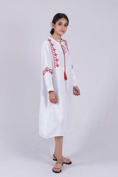 White Embroidered Tie-up Dress