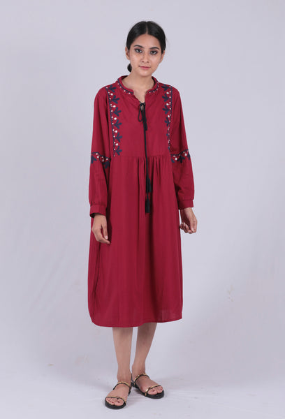 Dark Pink Embroidered Tie-up Dress - Brinda's Store