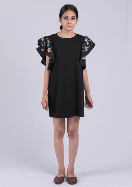 Black Embroidery Ruffled Sleeve Dress - Brinda's Store