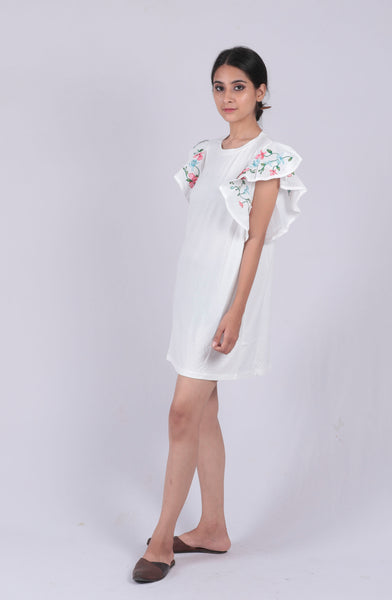 White Embroidery Ruffled Sleeve Dress