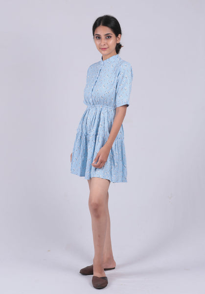 Blue Floral High Neck Dress - Brinda's Store