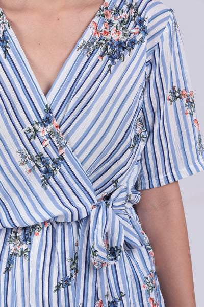 Blue Striped Floral Belted Jump Suit - Brinda's Store