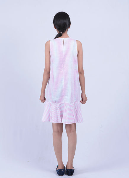 Pink Striped Fit & Flared Embroidered Dress - Brinda's Store