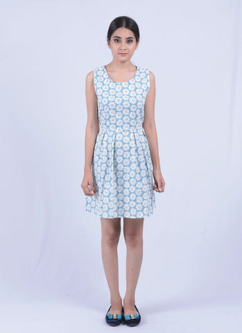 Sky Blue Sun Flower Fit & Flared Dress