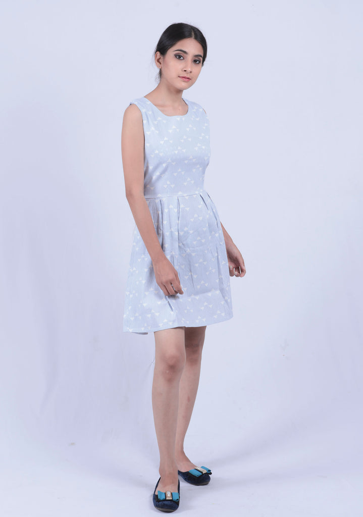 Light Blue Striped Geometry Fit & Flared Dress