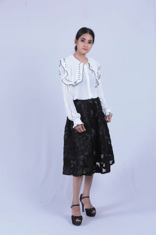 White Pearl Embellished Frill Shirt