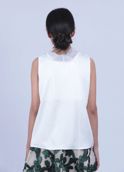 White Neck Tie-up Sleeveless Top