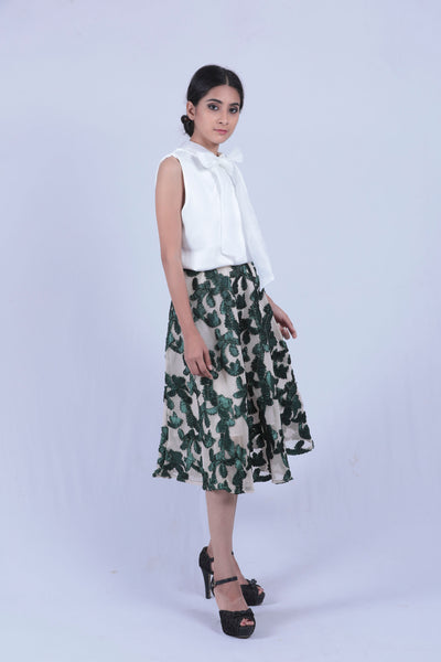 Cream & Green Sheer Lace Skirt - Brinda's Store
