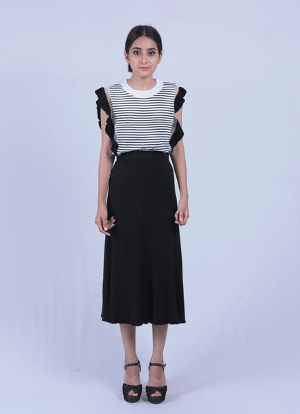 Black Self Design Woollen Skirt - Brinda's Store