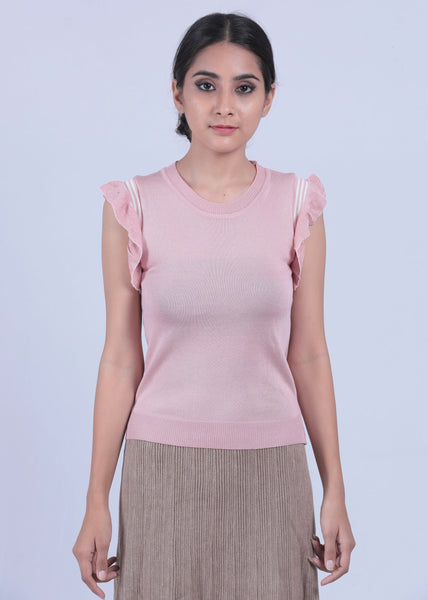 Pink Flutter Sleeve Top