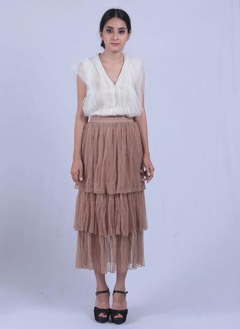 Brown Coloured Mesh Layered Skirt - Brinda's Store