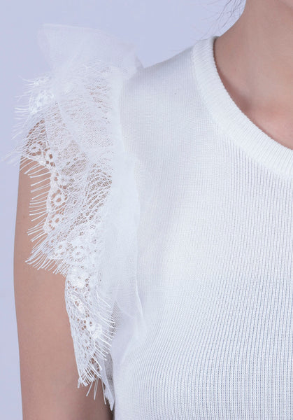White Lace Shoulder Shell Top