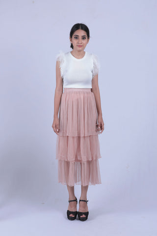 Peach Coloured Mesh Layered Skirt - Brinda's Store