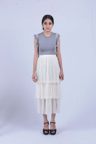 Cream Coloured Mesh Layered Skirt - Brinda's Store