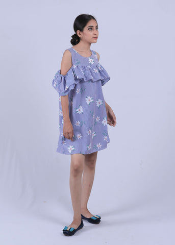 Blue Striped Floral Cold Shoulder Dress - Brinda's Store